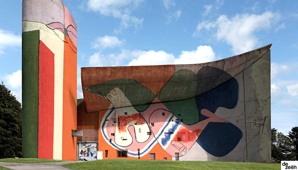 Le Corbusier's Ronchamp chapel reimagined with the architect's own graffiti
